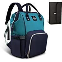 Pipi bear Nappy Changing Bag, Multi-Functional Waterproof Travel Diaper Bag Backpack with Changing Pad (Navy Blue-Lake Blue)