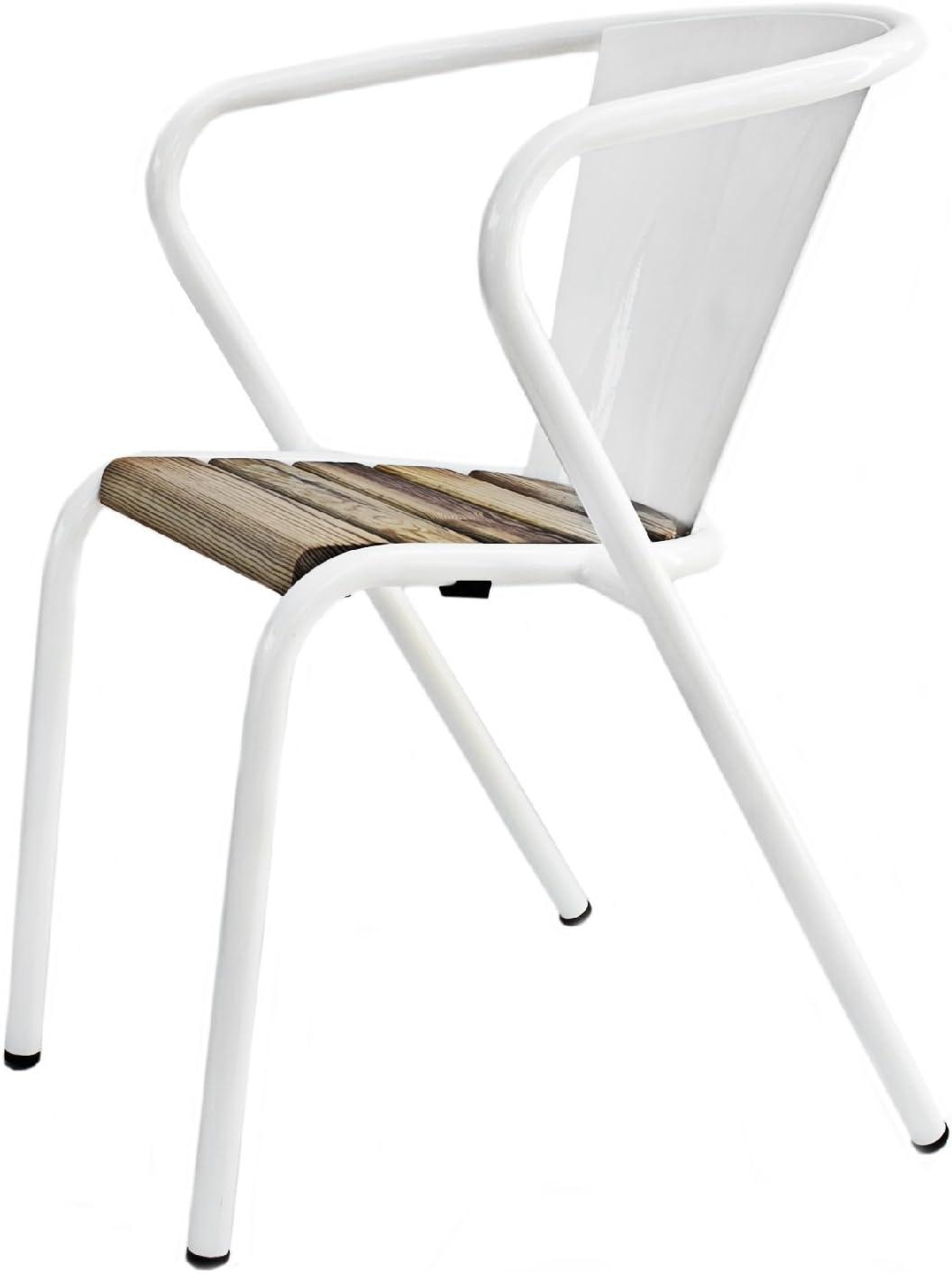 Silla de jardín de metal blanco con listones de madera, diseño clásico de Lisboa, robusta, resistente a la intemperie, apilable