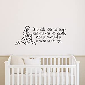 Little Prince Wall Decal Quote It Is Only with the Heart That One Can See Rightly Wall Decals Vinyl Stickers Nursery Kids Boys Baby Room Bedroom Wall Art Home Decor Q063
