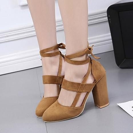 Covermason Moda Mujer Sandalia de tacón de aguja Sandalia de tacón de tobillo para la fiesta de la boda(39 EU, marrón): Amazon.es: Ropa y accesorios
