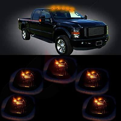 cciyu 5 Pack Cab Roof Top Marker Smoke 264141BK Running Lamps w/White LED Light Bulbs Replacement fit for Replacement fit for Truck Pickup 4x4 SUV (smoke lens yellow light): Automotive