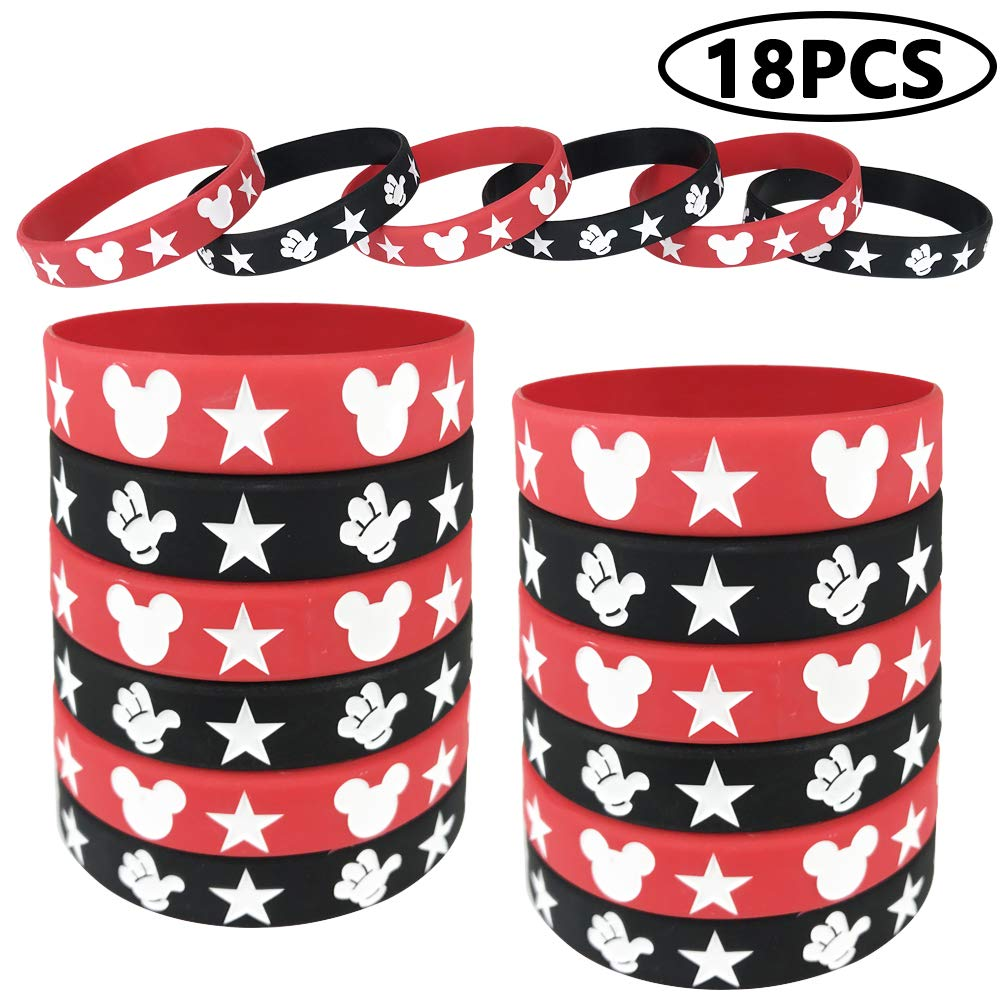 18 Pieces Mickey Mouse Rubber Bracelets, Silicone Bracelet Wristbands Red and Black Bracelet Birthday Party Theme Supplies for Kids, Teens, Adults by LIUYIJI