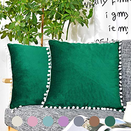 (2 Pack Dark Green Pom Poms Throw Pillow Cover Velvet Decorative Cushion Cover Fringe Lace Pillow Cover 18x18 Set of 2 for Couch Sofa Bed, NO Insert (Dark Green))