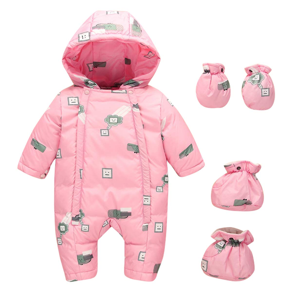 Kanodan Baby Boys Girls Down Jumpsuit Romper Winter Warm Onesie Romper 0-2 Years