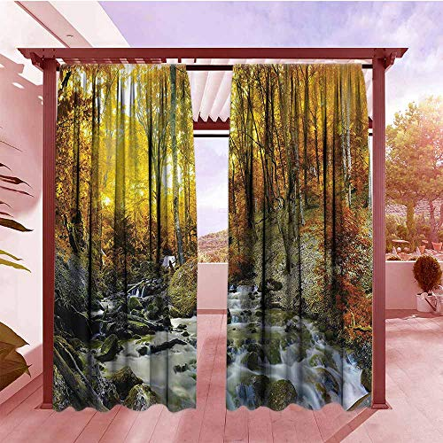 Indoor/Outdoor Print Window Curtain Lake House Decor Collection Autumn Time River Creek Forest Falling Leaves Rocks Trees Foliage Sunbeams Branches Rod Pocket Window Curtain for Bedroom W72x84L Multi