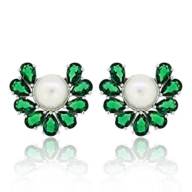 4161d3324 Buy Joal Long Green Earrings 925 Sterling Silver Tiffany Pearl Earrings  rhodium plated women and girls for party and wedding Online at Low Prices in  India ...