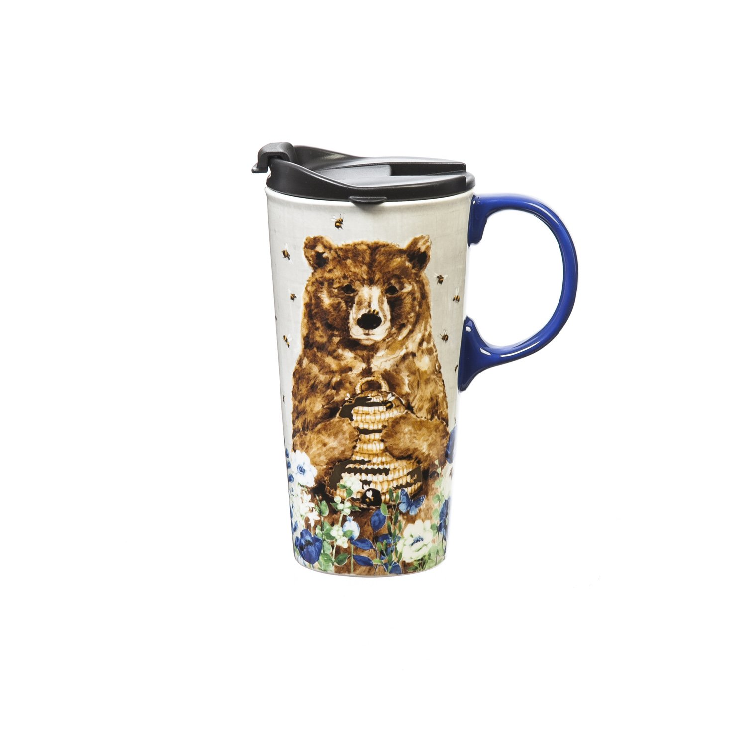 Cypress Home Flowers and Bear Metallic Ceramic Travel Coffee Mug with Gift Box, 17 ounces