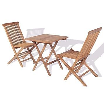WEILANDEAL Mesa y sillas Bistro de Jardin Plegables 3 Piezas ...