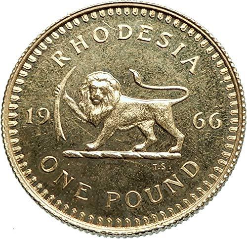 1966 ZW 1966 RHODESIA now ZIMBABWE Pound UK Queen Elizabe coin Good Uncertified