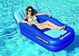 "54"" Blue Cooler Couch Inflatable Swimming Pool Lounger with On-Board Ice Cooler"