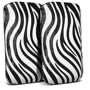 LG Google Nexus 5 Protección Premium de Zebra PU ficha de extracción de deslizamiento del cable En caso de la cubierta de liberación rápida (Twin Pack) Blanco y Negro por Spyrox Pouch Pocket Skin