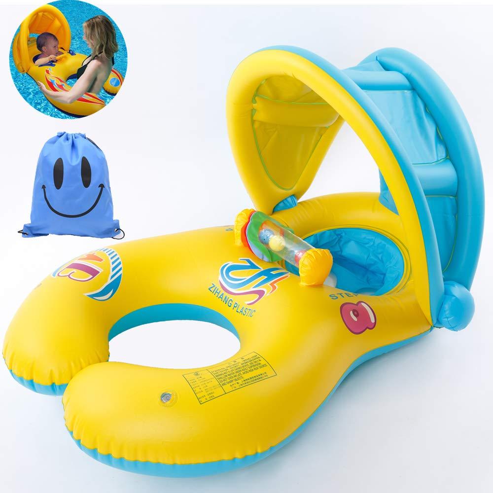 Anello di nuoto del bambino Anello di nuoto Con tettoia parasole rimovibile Doppio anello di nuoto della piscina neonati giocattolo bambini Piscina 0-3 anni