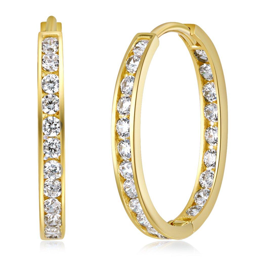 Wellingsale Ladies 14k Yellow Gold Polished 2mm CZ Oval Hoop Earrings (15 x 15mm)