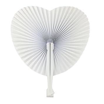 Blanc Tomkity Papier De 72pcs Pliante Pour Décoration Mariage Eventail MVUSpz
