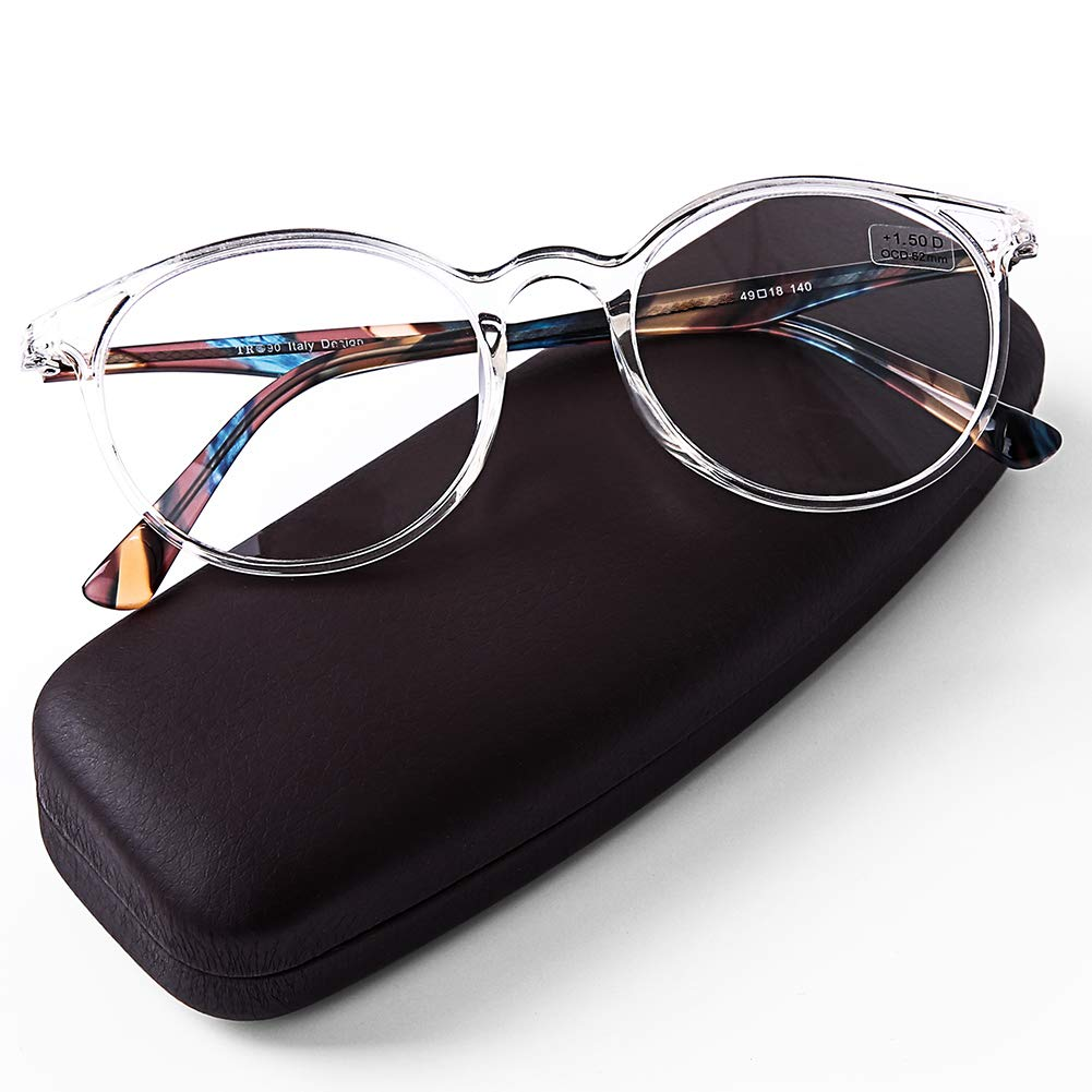 68081fdde8c2 Amazon.com  DOOViC Italy Design Fashion Reading Glasses for Women Men  Stylish Clear Frames Readers with Case +2.50 Strength  Health   Personal  Care