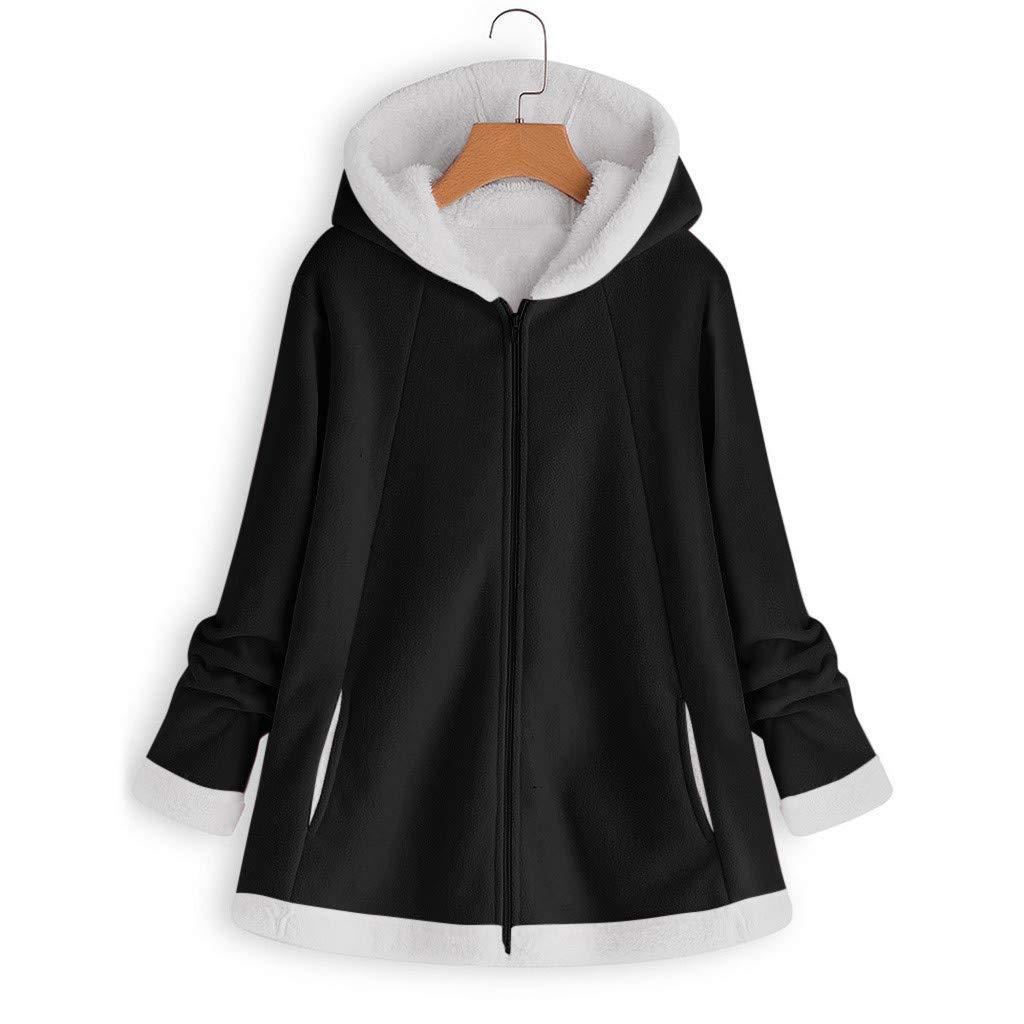 GOVOW Womens Fashion Winter Pocket Solid Color Zipper Loose Plus Velvet Long Sleeve Plush Hoodie Coat Blouse Tops