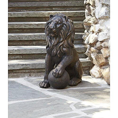 Majestic Outdoor Lion Statue 27 Inches – To Guard Your Porch Backyard Deck Garden Front Yard Flower Beds Stunning Upscale Lawn Ornament and Handmade (…