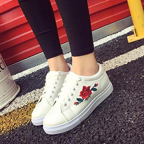 Blumen Weiß Schuhe Sneakers Riemen Winter Btruely Mode Damen Herbst Sportschuhe Schuhe Stickerei Mädchen Fv7x6Aq