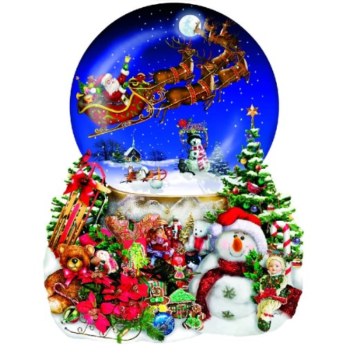 (Santa's Snowy Ride - Snow Globe Reindeer Holiday Christmas Shaped Puzzle - 1000 pc Jigsaw)