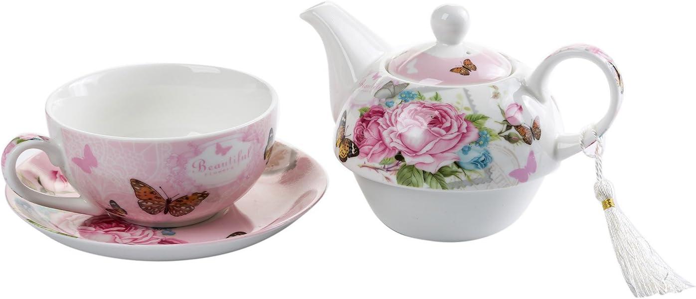 London Boutique Juego de t/é para una Tetera dise/ño de Flora y Rosa Porcelana