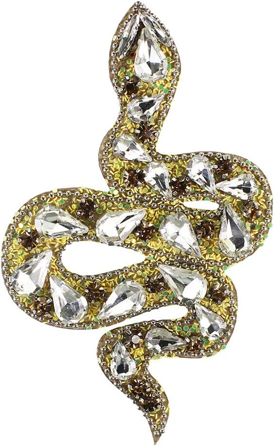 Handmade Rhinestone Snake Beaded Patches Sew on Beaded Crystal Badge for Clothing Shoes Applique 1 Piece