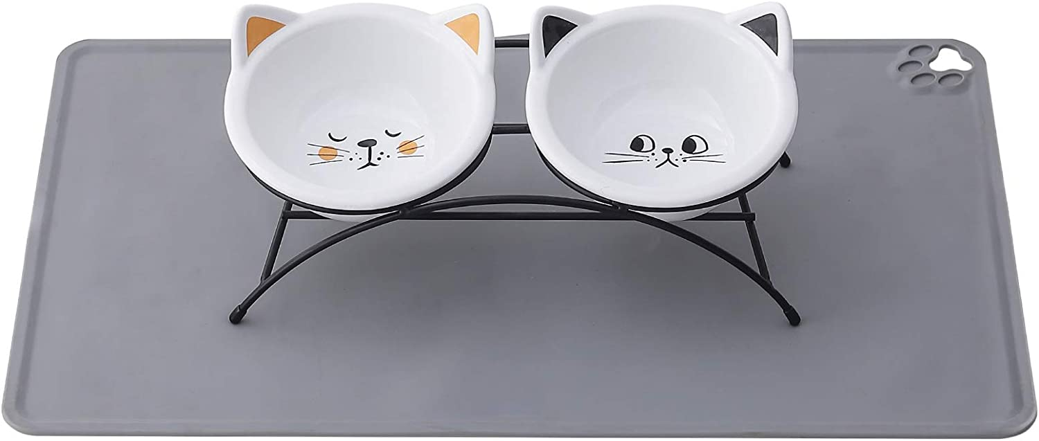 Raised Cat Bowls for Food and Water,10 Ounces Ceramic Elevated Pet Dishes Bowls with Metal Stand and Grey Mat for Cats and Small Dogs,Protect Pet's Spine,2 Pack(Black&Orange)