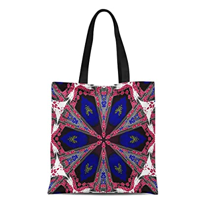 1e83ccf3ec77 Semtomn Canvas Tote Bag Shoulder Bags Abstract Colored Symmetrical Flowers  and Cubes on White Ornamental Women's Handle Shoulder Tote Shopper Handbag