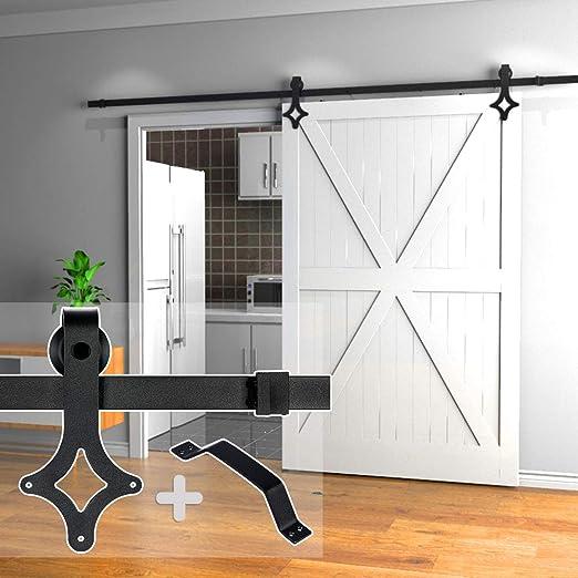 5FT-16FT Soft Close Rhombic Hangers Sliding Barn Wood Door Hardware Track Kit