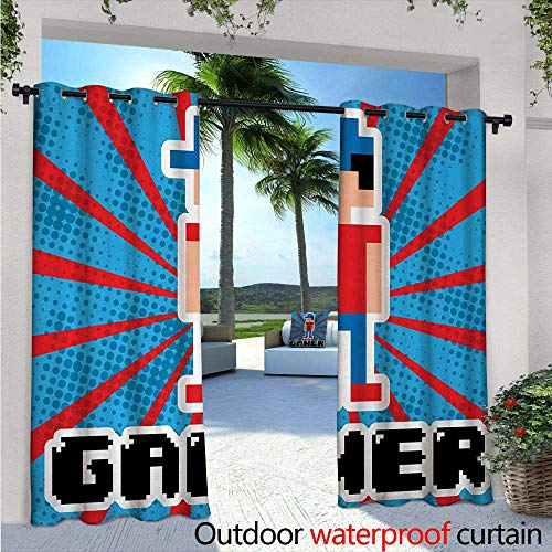 Louis Cardinals Video - Video Games Outdoor- Free Standing Outdoor Privacy Curtain Blue and Red Striped Boom Beams Retro 90s Toys Boy with Cap for Front Porch Covered Patio Gazebo Dock Beach Home W120 x L84 Vermilion Blue