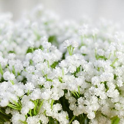 Image ofLianLe Flores artificiales, flor nube de novia, ramo, para decorar la mesa, una boda, una fiesta, Weiß, talla única