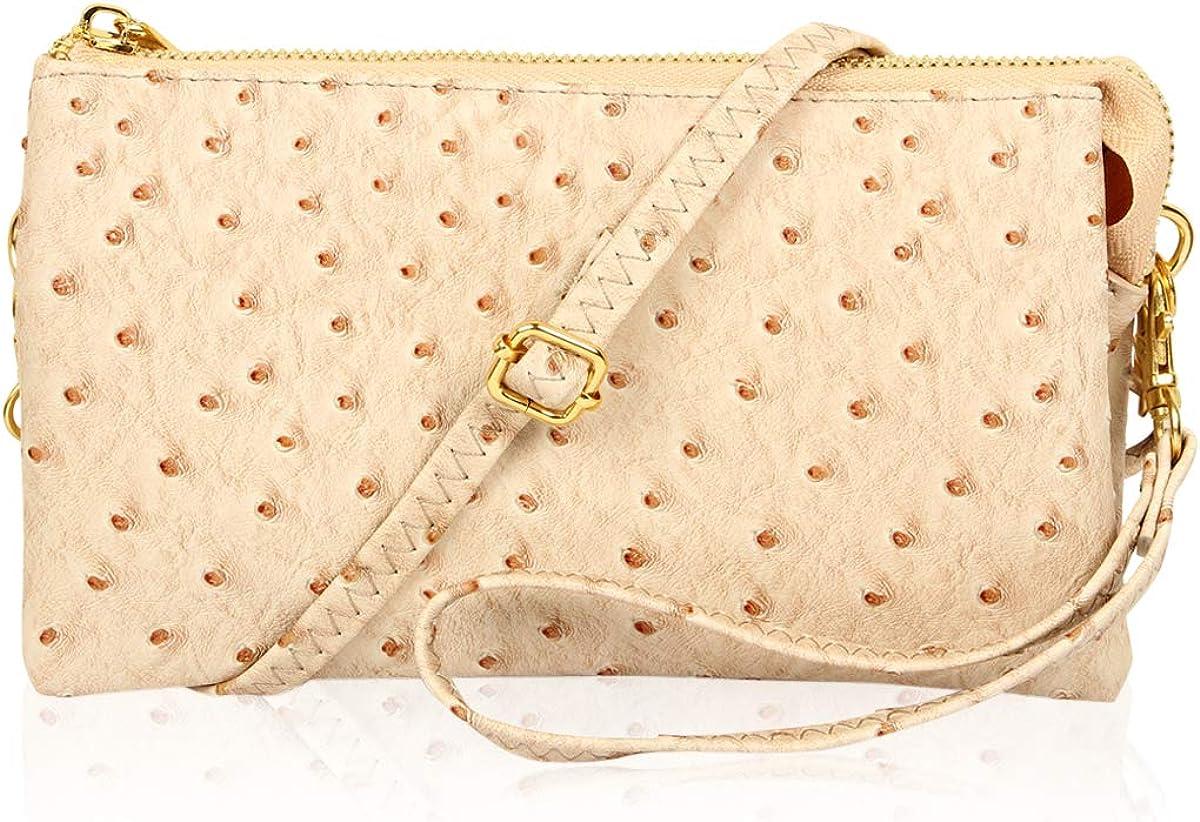 Bolsa cruzada de señoras de cuero genuino//Bolso de hombro 3 compartimientos separados Zipp