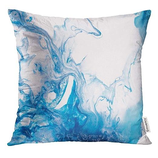 Cojín Azul Creativo Abstracto Resumen de la Mano Primer ...