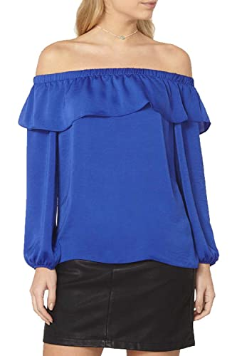 La Mujer Elegante Off Shoulder Long Sleeve Loose Oficina Blusa Top Plus Size