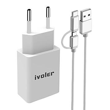iVoler Mini Cargador USB Portátil de Pared (12W / 2.4A) con 2 en 1 Cable de Micro USB y Tipo C, Cargador de Red con Tecnología Qsmart para Móvil, ...