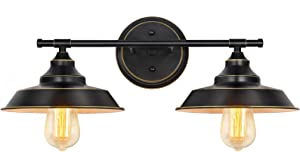 HAITRAL 2-Light Wall Sconce-Bathroom Vanity Wall Light Fixtures with Black Metal Shade,Industrial Rustic Bathroom Wall Lighting for Bathroom Kitchen Farmhouse Living Room Indoor-Black