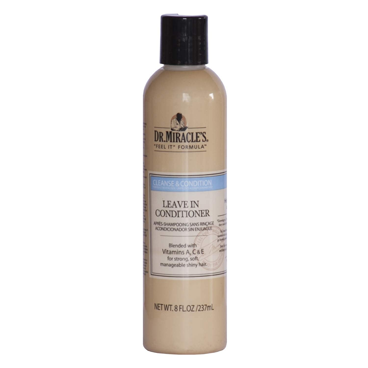 Dr. Miracle's Leave In Conditioner, Blended with Vitamins A, C & E for Strong, Soft, Manageable Shiny Hair, 8 Ounce