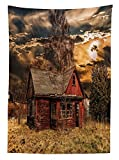 Scenery Decor Tablecloth Scary Horror Movie Themed Abandoned House in Pale Grass Garden Sunset Photo Dining Room Kitchen Rectangular Table Cover Multicolor