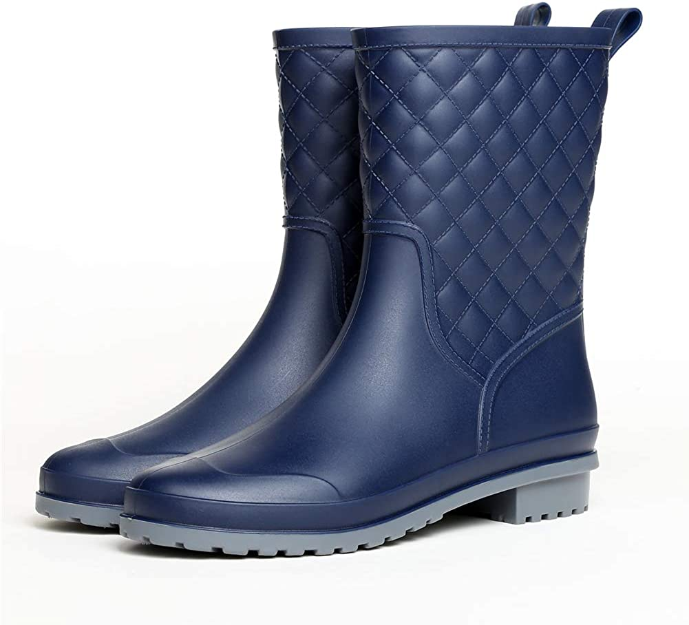 Hitmars Bottes/De/Pluie/Femme Bottes/Caoutchouc/Impermeable/Hiver/Bottines Neige Plate/Antid/érapant Wellington/Boots Travail Fourrees/Pas/Cher Classic Noir Bleu 36-43