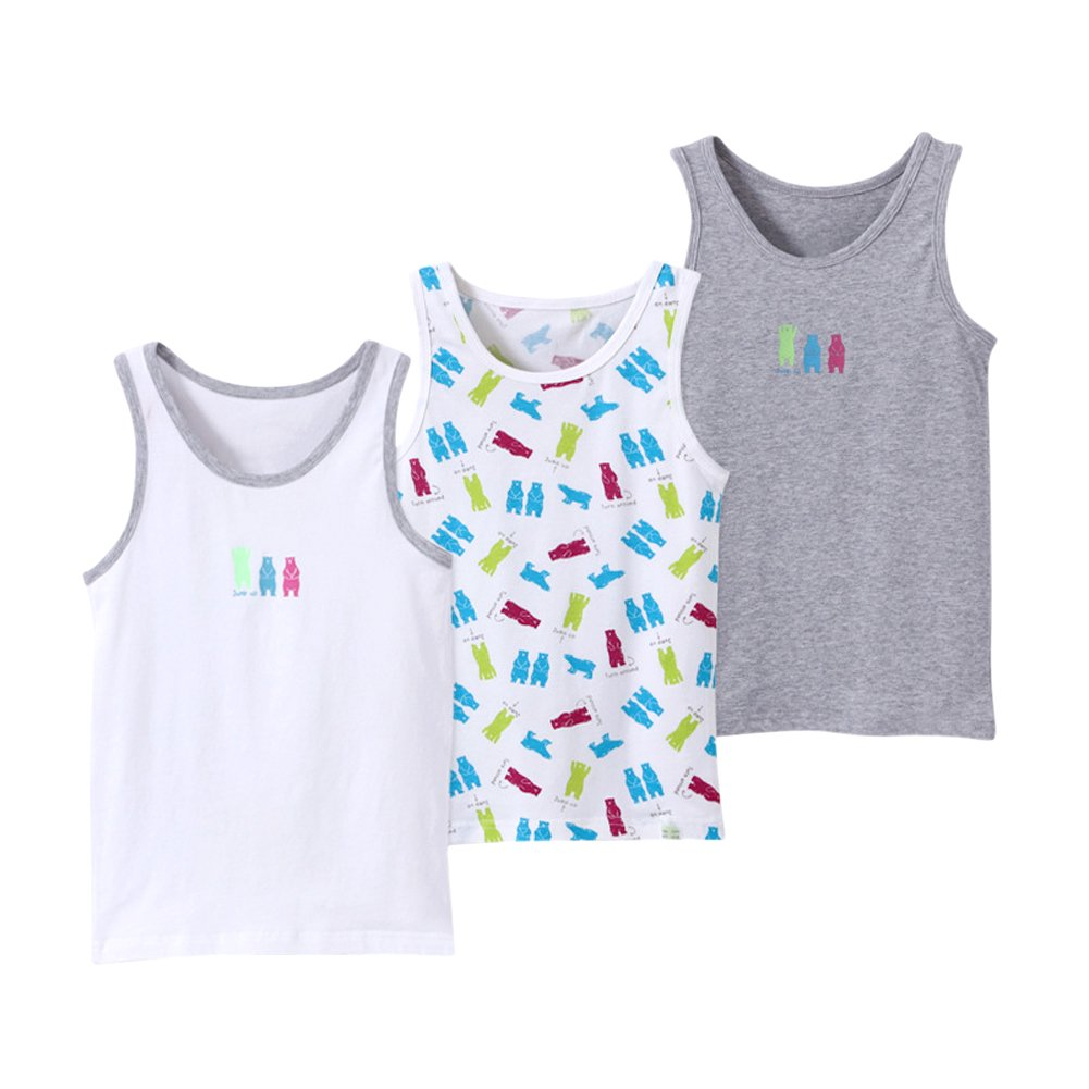 Toddler Little Boys' Sleeveless Vest Tank Tops Big Kids Cotton T-Shirt 3 Pack 18M-8T 86412