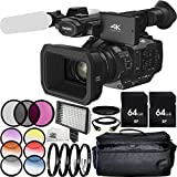 Panasonic HC-X1 4K Ultra HD Professional Camcorder 64GB Bundle 20PC Accessory Kit. Includes 2 64GB Memory Cards + 3PC Filter Kit (UV-CPL-FLD) + 4PC Macro Filter Set (+1,+2,+4,+10) + MORE