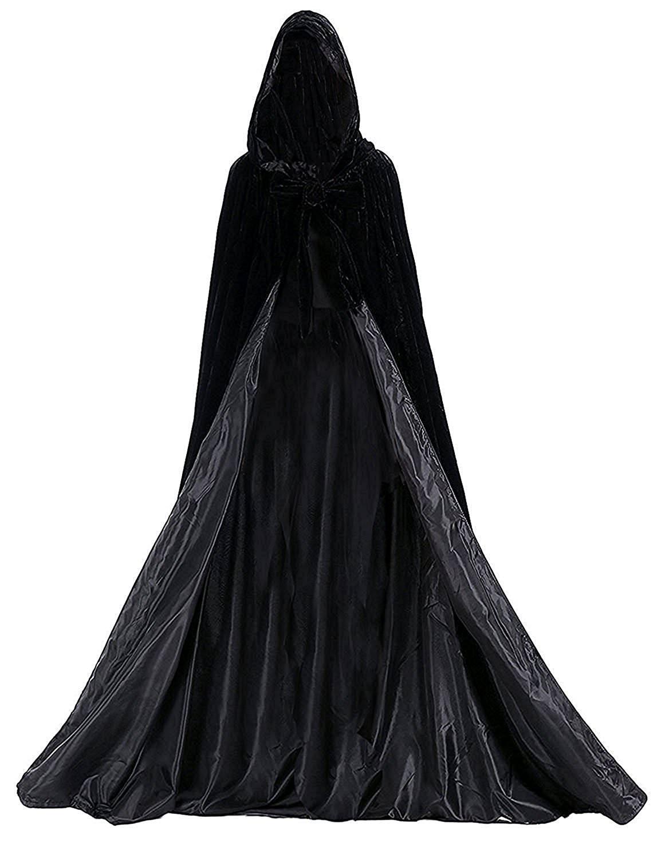 Black Halloween Grim Reaper Hood Cloak Witch Medieval Cape Robe Cosplay Costumes