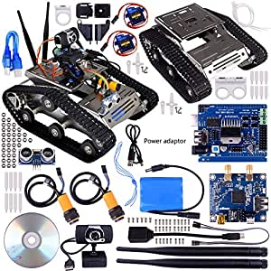 kuman Sm5 Th Wireless Wifi Robot Car Kit With Video tutorial for Arduino,utility Vehicle Intelligent Robotics, Hd Camera Ds Robot Smart Educational Robot Kit for Kids