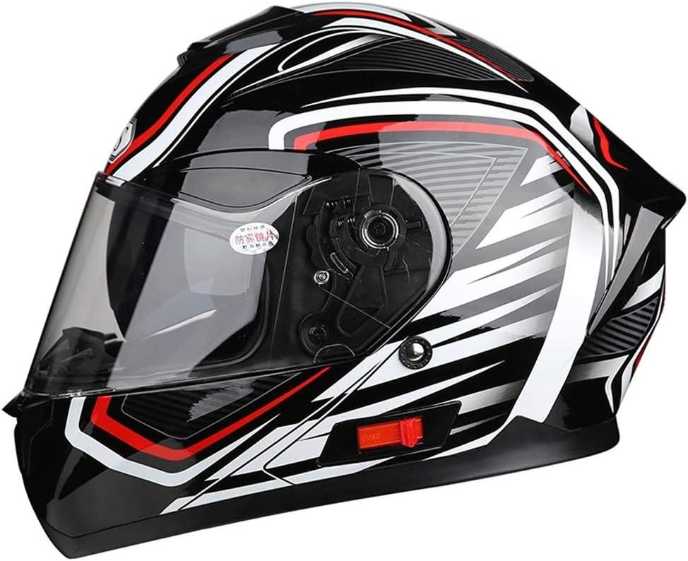 取り外し可能なヘルメット多機能防曇ダブルレンズオートバイ男性と女性のフルフェイスヘルメットカラーオーロラ 保護 (Color : Multi-colo赤, Size : XXXL)