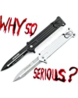 "Unlimited Wares 2-Pack Joker ""Why So Serious?"" Assisted Opening Folding Knife 4.5-Inch Closed Black and Silver"