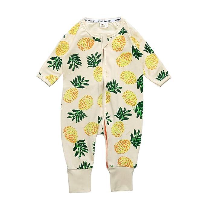Kids Tales Cuentos de niños piña Footed Cremallera Pijama para Dormir Pelele de algodón (tamaño 4 - 24 M): Amazon.es: Ropa y accesorios