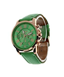 COOKI Womens Quartz Watches, 9298 Unique Analog Fashion Lady Watches Female Watches Casual Wrist Watches for Women,Round Dial Case Comfortable Faux Leather-H13,Green