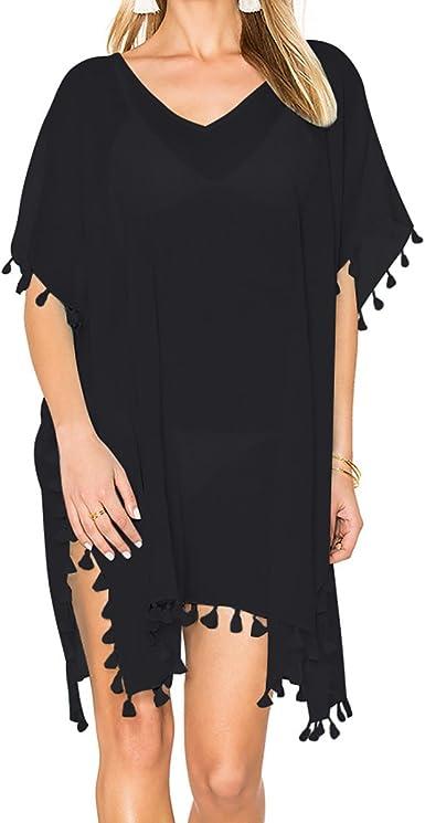 JewelryWe Vestido de Playa Negro Vestido con Borlas para Mujer ...