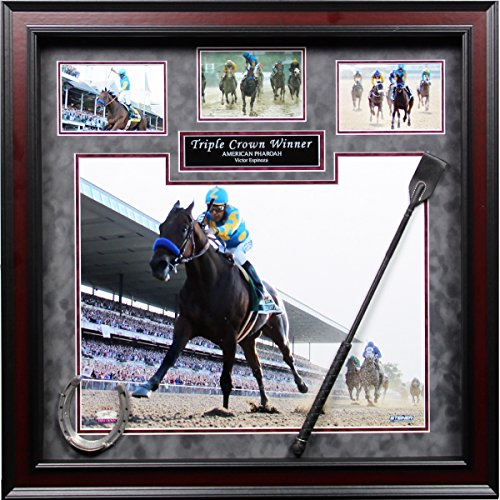victor-espinoza-american-pharoah-triple-crown-winner-24-inch-x-24-inch-custom-framed-collage-with-wh