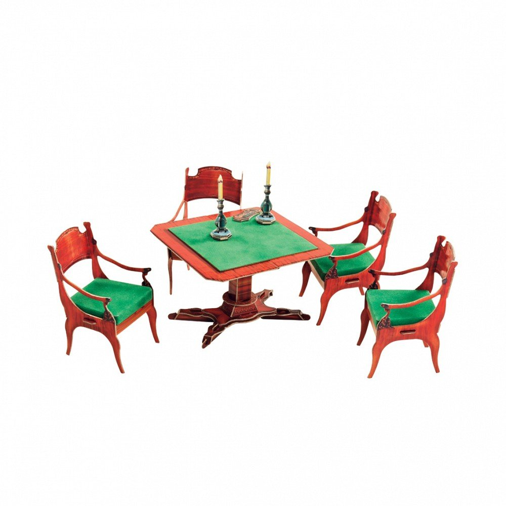 Clever Paper Card table and chairs Fireplace Dollhouse Furniture Dolls Miniatures Model Kit 424 Umbum/_424