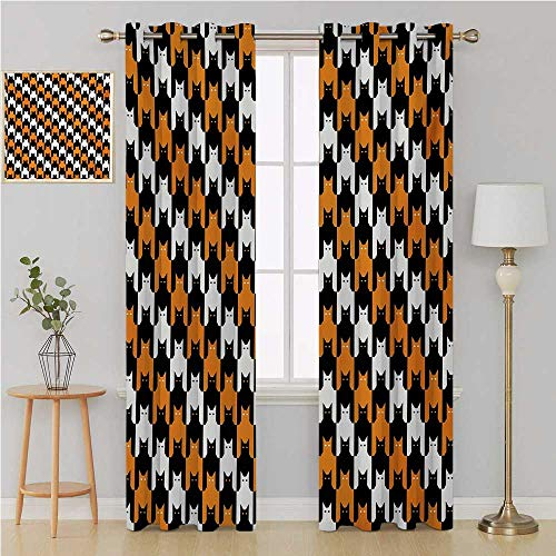 Benmo House Halloween grommit Curtain Patterned Drape for Glass Door,Digital Style Catstooth Pattern Pixel Spooky Harvest Fashion Illustration Curtains 96 by 108 Inch Orange Black White -